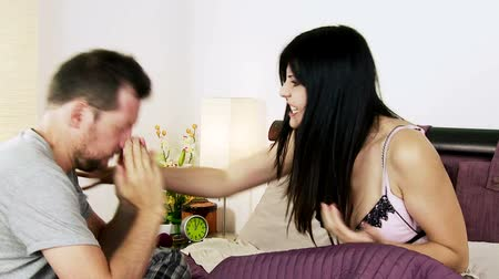 гнев : Woman very angry with boyfriend telling him to leave