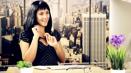 success : Happy business woman in office in New York dancing after success in Wall Street financial market Stock Footage