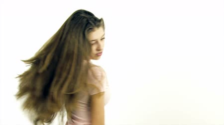 długie włosy : Happy cute girl with long hair looking Wideo
