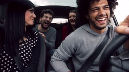 legal : Cool people laughing during trip with car