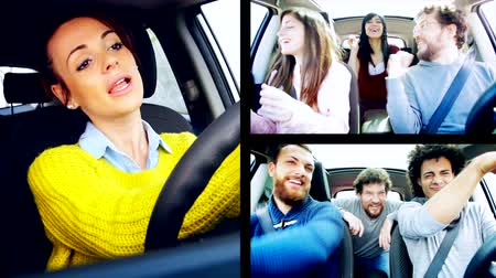 Funny people dancing while driving car Stock Footage