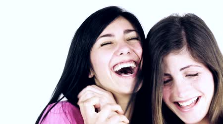 смеющийся : Women having fun fighting laughing