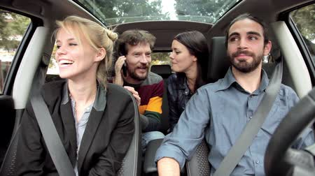 четыре человека : happy people enjoying start of vacation driving car