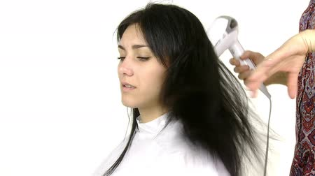 dryer : woman getting long hair dryed