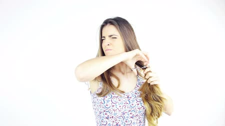 hajápoló : Woman angry with her long hair ruined cutting off all