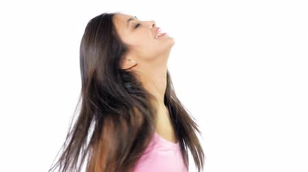Beautiful woman spinning long hair Stock Footage