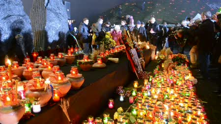 famished : Starvation (Holodomor), 80th anniversary marks in Kiev, Ukraine on November 23, 2013. Holodomor - Josef Stalin-ordered famine that killed millions of Ukrainians in 1932-33. Stock Footage