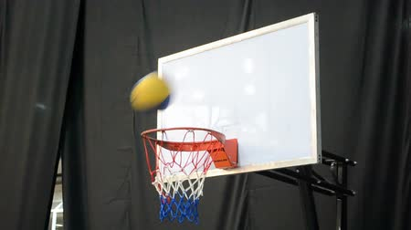 hurl : basketball ball gaming during Activesport exhibition (March 14-16) in Kiev, Ukraine on March 16, 2014. Stock Footage