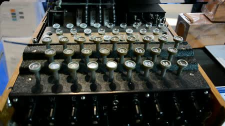 kódolás : Enigma machine under processing on September 15, 2014 in Amsterdam, Netherlands. It is family of related electro-mechanical rotor cipher machines mostly often used by Germany before and during World War II. It has 3 wheels and it had a period of 1690