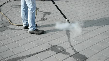 cleaning equipment : cleaning the street with hot steam, modern technology