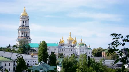 baptized : Kiev summer landscape with Kiev Pechersk Lavra, Dnieper river and bridge in sunny day