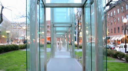 voyager : BOSTON, MA - APR 25: New England Holocaust Memorial dedicated to the Jews who were killed in the Holocaust on April 25, 2016 in Boston, USA. Monument was open in 1995. Designed by Stanley Saitowitz. Stock Footage