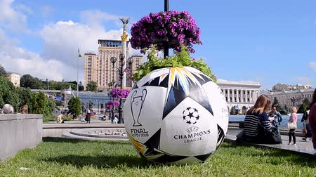 final round : KIEV - MAY 21: Large ball as UEFA Champions League Final Symbols on May 21, 2018 in Kiev, Ukraine . FC Real Madrid and FC Liverpool Final game take place on May 26, 2018.