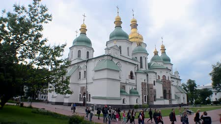 jesus born : KIEV, UKRAINE - MAY 18: Saint Sophia Cathedral - famous heritage Christian temple of Kyivan Rus period built by Prince Yaroslav the Wise on May 18, 2018 in Kiev, Ukraine. Stock Footage