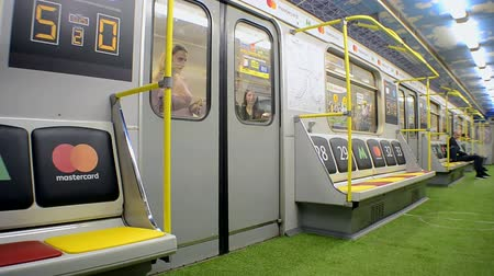 lugares sentados : football Metro wagon designed with stadium style during UEFA Champions League Final 2018 on May 23, 2018 in Kiev, Ukraine. FC Real Madrid and FC Liverpool Final game take place on May 26, 2018.