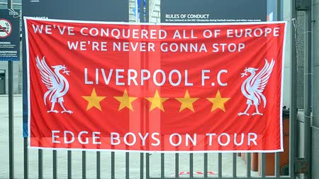 ассоциация : Liverpool banner as UEFA Champions League Symbol on May 25, 2018 in Kiev, Ukraine.