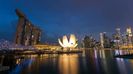 urban skyline : Timelapse - Singapore Marina Bay Night City Skyline