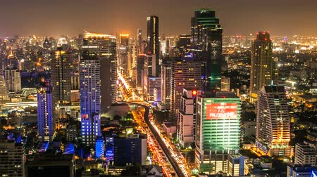 manzaraları : Bangkok Night Skyline Timelapse Stok Video