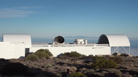 telescopic : twisting telescope at the astronomical station in the mountains of Tenerife Stock Footage