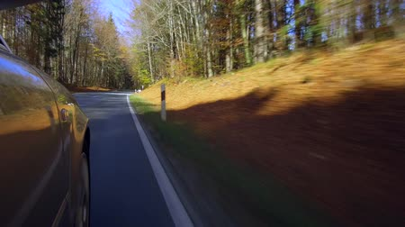 autumns : Car driving on a street in autumn, Bavaria, Germany, Europe