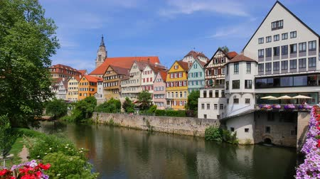 searches : Houses on the Neckar river, old town, Tuebingen, Swabian Alb, Baden-Wuerttemberg, Germany, Europe Stock Footage