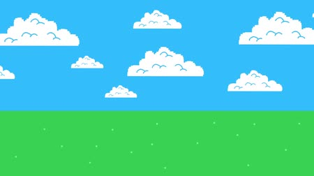 дичь : Old Retro Video Game Arcade Clouds Moving on a Blue Sky and Grass