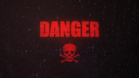 atenção : Danger Signal Alert Sign with a Skull on an Old Dirty Screen