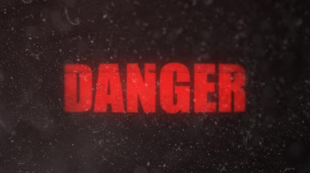 znak : Danger Alert Signal Sign on a Dusty Screen Wideo