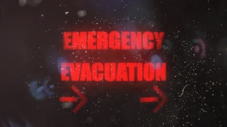 znak : Emergency Evacuation With Pointing Arrows Alert on a Dirty Screen
