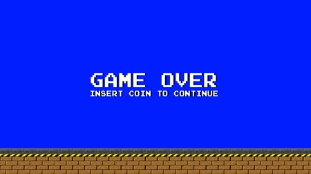 pacífico : Game Over - Old Platform Video Arcade Game on a Blue Screen