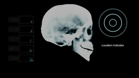boné : Biometric Scan Skull Profile Under X- Ray with other Elements Stock Footage