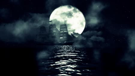 fantasma : An Old Sailing ship in the Middle of a Night in the Ocean on a Full Moon Backgro