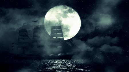 pirat : A Sailing ship on a Full Moon Night Moves Slow Between the Waves and Fog
