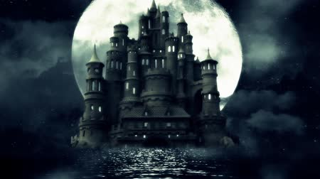 ведьма : A Big Black Castle in The Middle of the Sea with a Rising Full Moon Night Стоковые видеозаписи