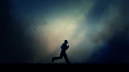 honit : Man Running Under a Lightning Storm and Rain at Night - Loop