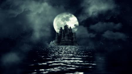 magical : Magical Castle in the Middle of the Sea on a Beautiful Night with a Full Moon