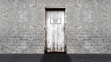 entrance : Keep Out Sign on a Door Open to a Blue Screen Background