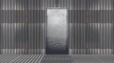 hátborzongató : Metal Door Open into a Green Screen Background Transition