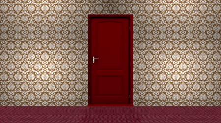drzwi : Red Hotel Door Open to a Green Screen Background