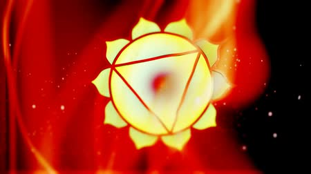 szentelt : Solar Plexus Manipura Chakra Mandala Spins in Energy Field of Fire