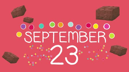 yıllık : The Days and Months of the Year on a Sweet Candies Background Stok Video