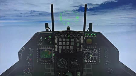 pilótafülke : F-15 Cockpit Above the Clouds Illustration Stock mozgókép