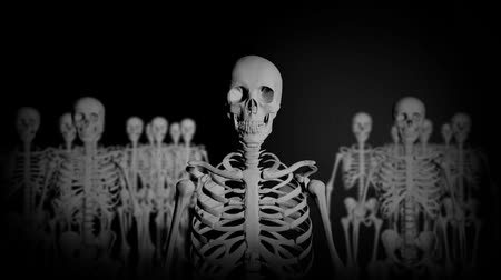 psicodélico : Group of Skeletons Standing in the Dark staring at the Camera in a Creepy Look