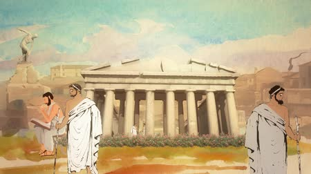 eflatun : Animated Cartoon Scholars in the Parthenon in Ancient Greece in Athens