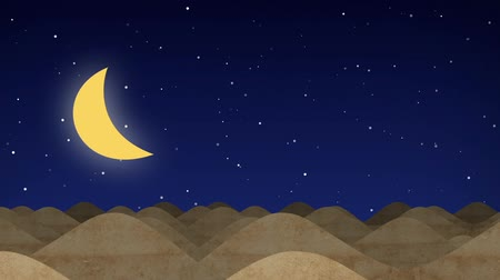 закат : Animated Cartoon Desert Dunes on a Starry Night with Moon Стоковые видеозаписи