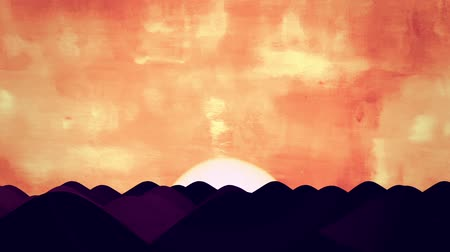 marrocos : Animated Cartoon of Desert Dunes on Sunrise