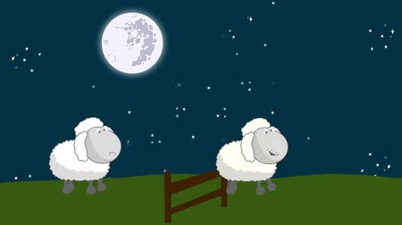 koyun : Counting Sheep that Jumping Above a Wooden Fence in a Starry Night with a Full Moon