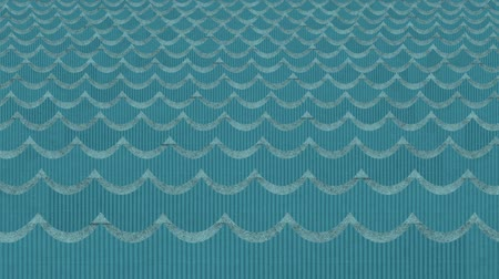 water puppet : Theatrical Cardboard Sea Waves Background