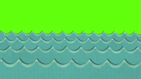 water puppet : Theatrical Windy Cardboard Sea Waves Moving on a Green Screen Background