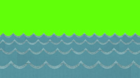 water puppet : Windy Cardboard Sea Waves Moving on a Green Screen Background Stock Footage